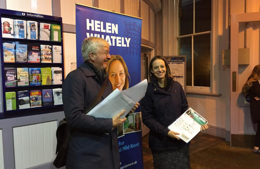 Helen Whately at Faversham station handing out her rail survey