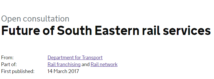 Department for Transport's consultation on the future of south east rail services