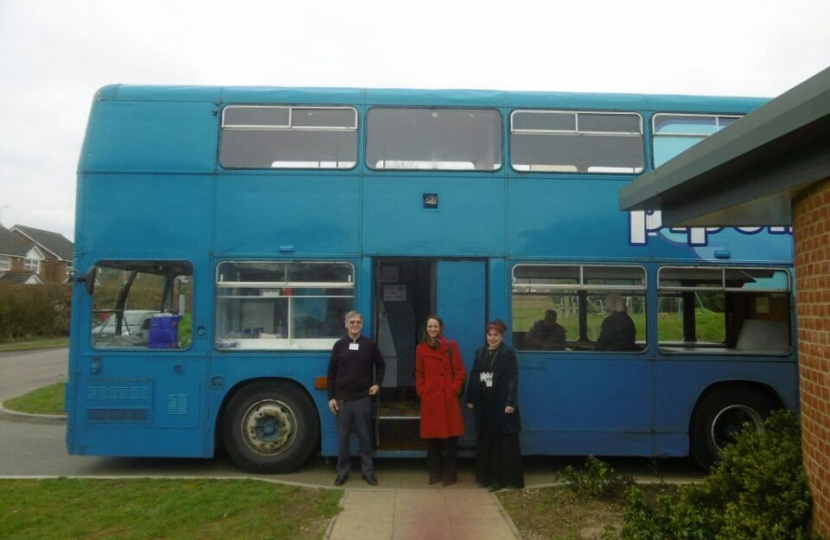 Helen holds an advice surgery on a bus with Amicus Horizon