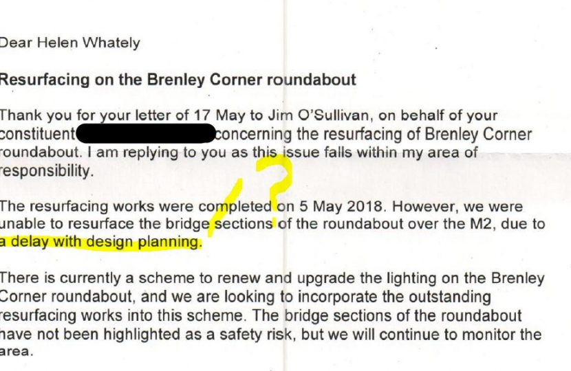 Brenley Corner letter from Highways England