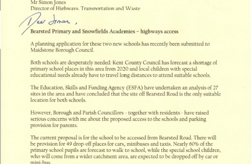 My letter to Kent Highways
