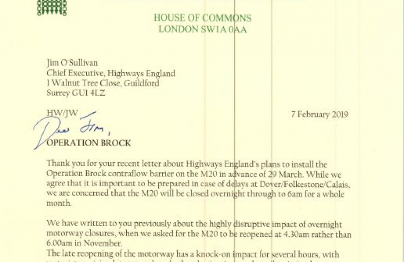 Letter to Highways England