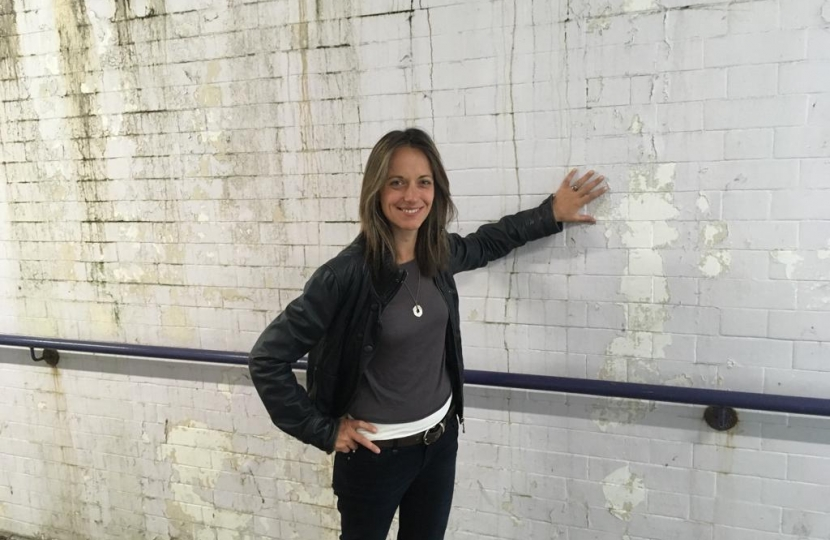 Helen at the Faversham station underpass