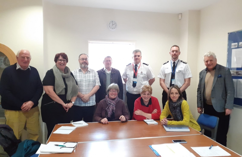 Helen with police and local councillors in Headcorn Village Hall