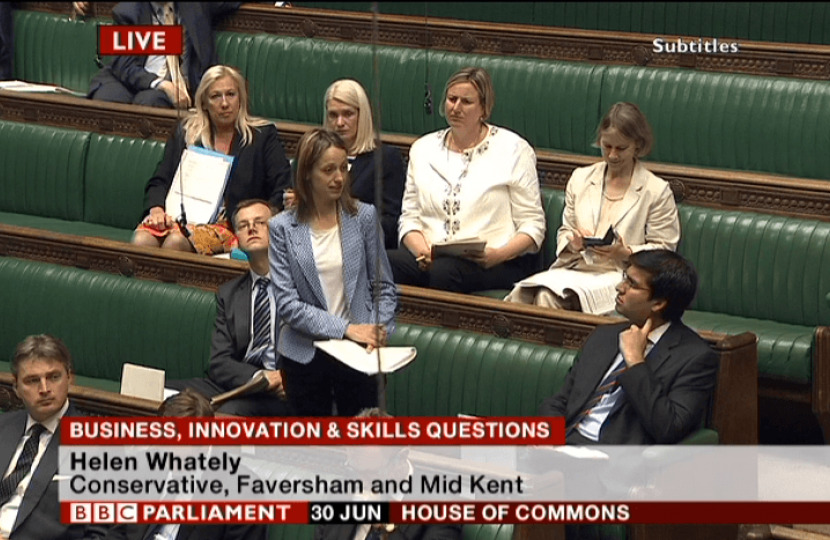 Helen Whately asks Small Businesses Minister about cutting red tape for beer and breweries