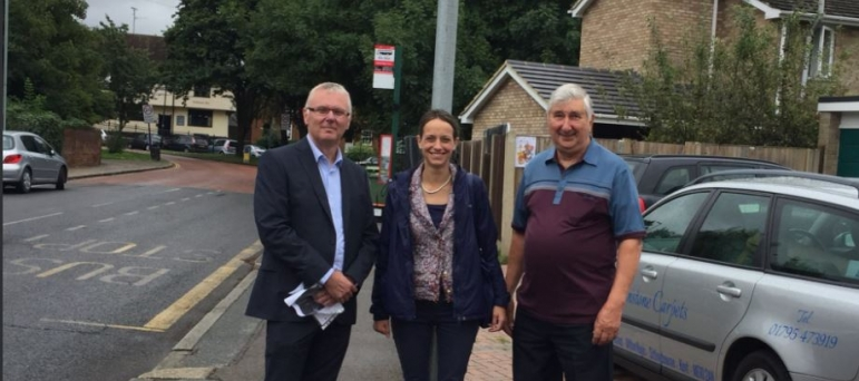 Helen campaigning to stop HGVs using back roads