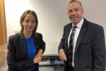 Helen Whately and the Rail Minister in front of a model of a class 700 Thameslink train