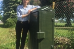 Helen at fibre broadband cabinet
