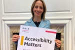 "Helen supporting the ""Accessibility Matters"" campaign"