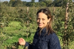 Helen visiting an orchard in Kent