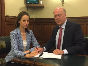 Helen and Transport Secretary Chris Grayling